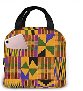 Ghana Kente Cloth Reusable Insulated Lunch Bag Cooler Tote Box with Front Pocket Zipper Closure for Woman Man Work Picnic or Travel