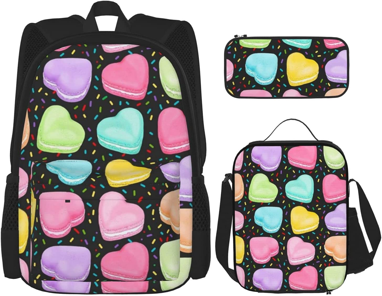Hearts Award Sprinkles Black Backpack with Insulated Pencil Box cheap Lunch