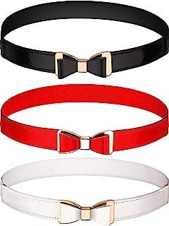 Tatuo 3 Pieces Women Skinny Waist Belt Thin Stretchy Bow Belt for Dress