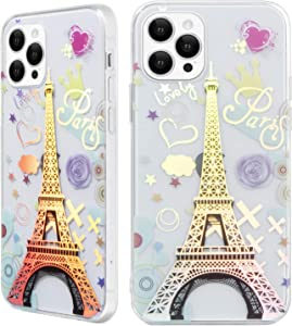 tharlet iPhone 12 Case/iPhone 12 Pro Case 6.1 in, Clear Glossy Laser Bronzing Eiffel Tower Case Hard PC Soft TPU Transparent Bumper Protective Shockproof Cover 2020