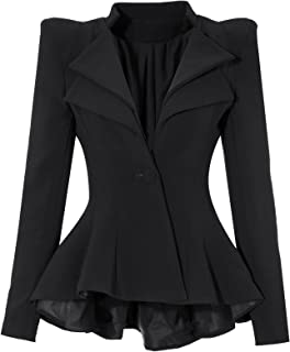 GRAPENT Women's Double Notch Lapel Sharp Shoulder Pads Asymmetry Blazer Jacket