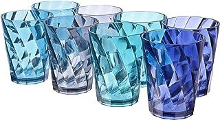 Optix 14-ounce Plastic Tumblers | set of 8 in 4 Coastal Colors