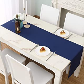 DUALIFE Navy Table Runner 14x72 inch Solid Color Thick Polyester Decorative Cloth Handcrafted for Wedding Party Birthday G...