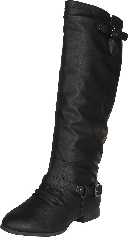 TOP Moda Coco-1 Women's Knee High Riding Boot, Color:Black, Size:5.5