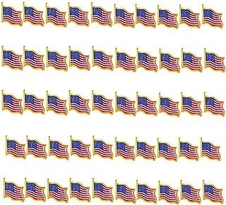 TANG SONG 50PCS American Flag Waving Lapel Pins United States USA Badge Pin Patriotic Enamel Suit Jacket Lapel Pin