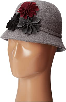 73d3efc1e99 Wool Felt Cloche with Assorted Flowers