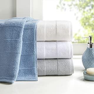 Madison Park Signature Parker Zero Twist 600Gsm 100% Cotton Luxury Stripe Jacquard Absorbent Soft Thick Hotel Bathroom Towel Set Shower Hand Face Washcloths, Assorted Sizes, Grey 6 Piece