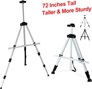 T-SIGN 72 Inches Tall Display Easel Stand, Aluminum Metal Tripod Art Easel Adjustable Height from 22-72 Inches, Extra Sturdy for Table-Top/Floor Painting, Drawing and Display with Bag, Silver