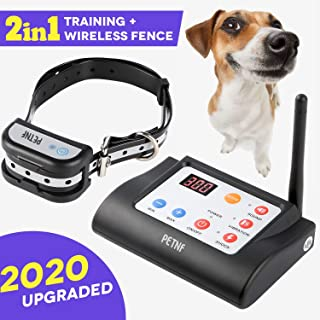 Wireless Dog Fence Outdoor,Electric Training Collar & Pet Containment System 2 in 1 for Dogs, Safe Outdoor Waterproof Electric Beep/Vibration/Shock Collar with Remote,5 Levels Adjustable Range Control