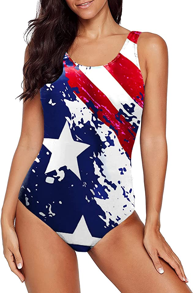 Aleumdr Womens Color Block Print One Piece Swimsuits Athletic Training Swimwear Bathing Suits