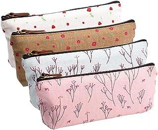 MINGZE MINGZE 4 Stück Leinwand Stift Federmäppchen Stiftemappe stiftemäppchen Griffelmappe, Briefpapier-Beutel-kosmetischen Taschen frisches Blumenmuster