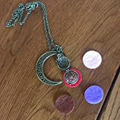 Lunar Moon BronzeBrass Tone Crescent Small Aromatherapy Essential Oil Diffuser Locket Necklace