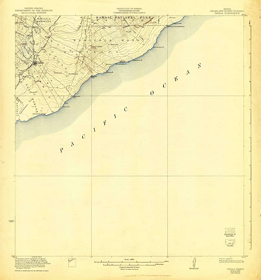 YellowMaps Pahala HI topo map, 1:62500 Scale, 15 X 15 Minute, Historical, 1923, Updated 1943, 20.3 x 18.9 in