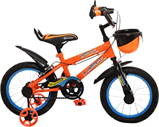 Outplayo Sports Orange Bicycle for 3 to 5 Years Kids, 14 inches (Neon Orange)