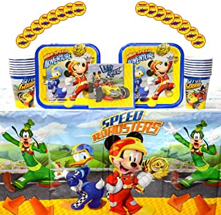 Mickey Roadster Party Supplies Pack for 16 Guests: Stickers, Dessert Plates, Beverage Napkins, Table Cover, and Cups