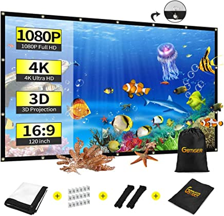 "$29 Get 120 inch Portable Projection Screen with Bag, GBTIGER 120"" 16:9 HD Foldable Indoor Outdoor Movie Screen for Home Cinema Theater Party Support Double-Sided Projection (120 inch, Anti-Crease)"
