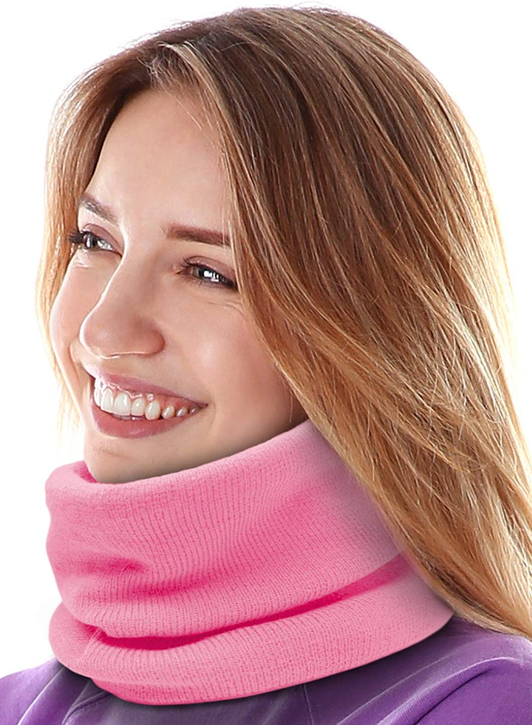 Neck Warmer - Winter Dual-Layered Fleece Neck Gaiter & Ski Tube Scarf - Cold Weather Face Cover & Mask for Men & Women
