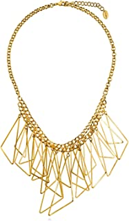Gold Flashed Base Metal Triangle Fashion Bib Statement Necklace