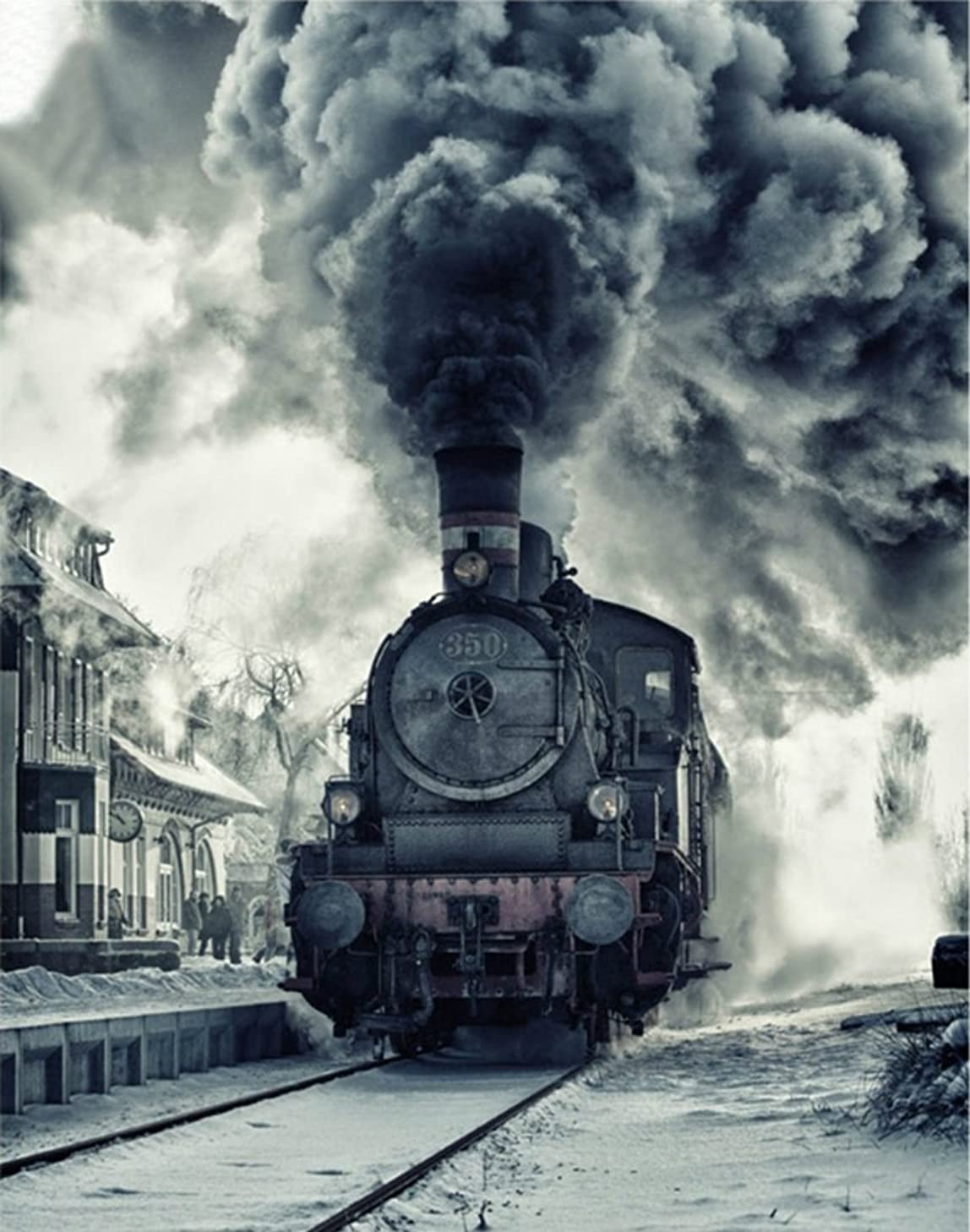21secret 5D Diamond Diy Painting Full Round Drill Handmade Smoking Steam Train Landscape Cross Stitch Home Decor Embroidery Kit