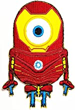 Funny Minions Stuart Iron Man Superhero Movie Cartoon Logo Mbroidered Iron on Hat Jacket Hoodie Backpack Ideal for Gift / 6.5cm(w) X 9cm(h)