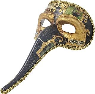 Hophen Venetian Long Nose Mask Ball Prom Mardi Gras Plague Doctor for Men Wall Decorative Art Collection Mask (Black+Gold)