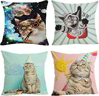 WANONEE Funny Cat Animal Theme Cotton Linen Pillow Covers, Decorative18x18 for Home Office Sofa Bed Car, Set of 4 Pieces