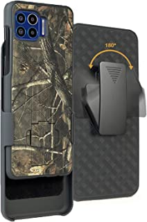 Case with Clip for Moto One 5G, Nakedcellphone [Outdoor Camouflage] Tree Leaf Real Woods Camo Cover with Kickstand and Bel...