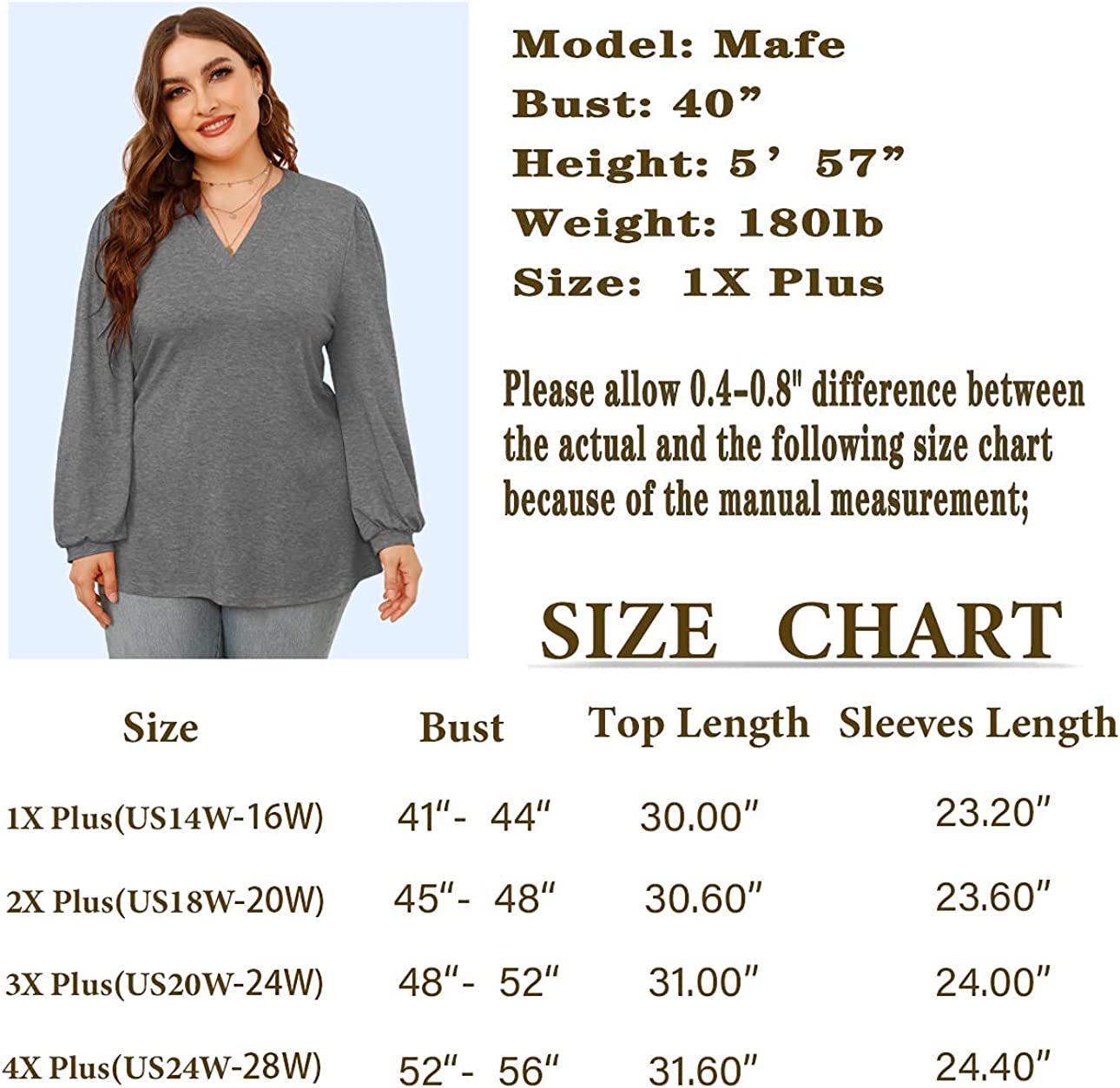 LINJOU Womens Plus Size Puff Long Sleeve Tunic Tops Loose V Neck T Shirts Casual Blouse