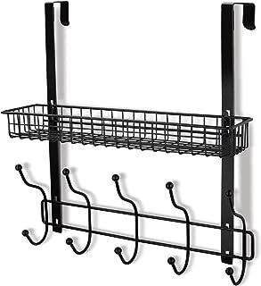 Coat Rack, MILIJIA Over The Door Hanger with Mesh Basket, Detachable Storage Shelf for Towels, Hats, Handbags, Coats (Black)