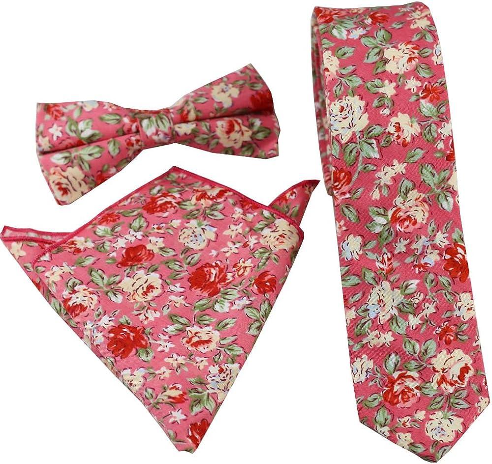 Coachella Ties Hot Pink Flowers Cotton Necktie Skinny Tie Pocket Square Bowtie (Tie+Pocket Square+Bowtie)