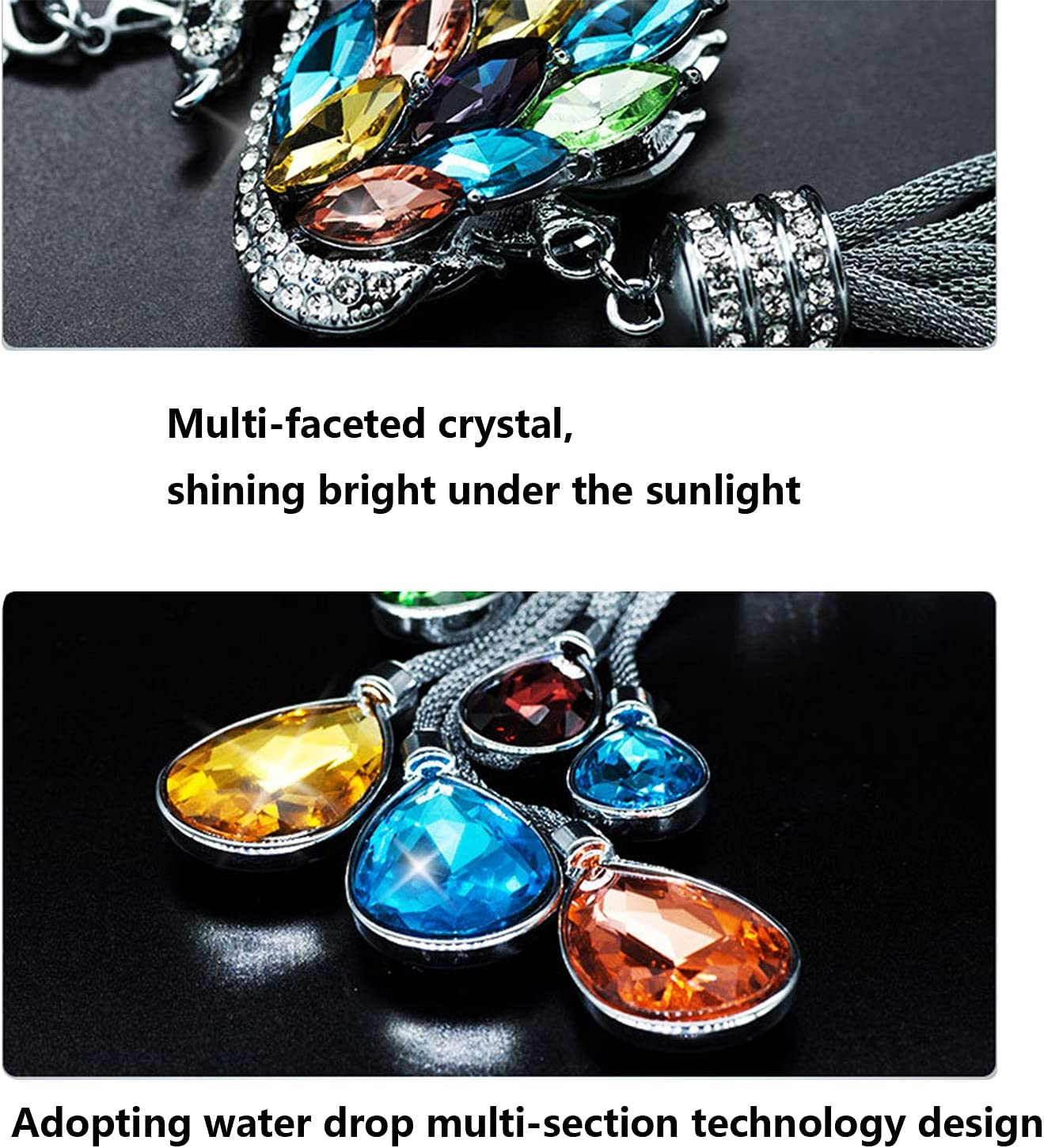 Bling Car Mirror Accessories for Women & Men Bling Rinestones Diamond Car Accessories Crystal Car Rear View Mirror Charms,Lucky Hanging Accessories rainbow