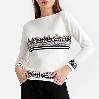 La Redoute Collections Womens Jacquard Fine Knit Crew Neck Jumper/Sweater