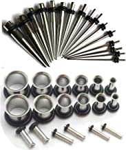 16g-00g Surgical Steel Ear Stretching Kit Tunnels and Tapers Plus Instructions