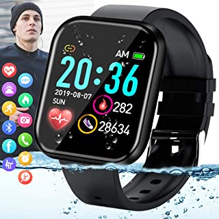 Amokeoo Smart Watch,Fitness Watch Activity Tracker with Heart Rate Blood Pressure Monitor IP67 Waterproof Bluetooth Touch Screen Android Smartwatch Sports Watch for Android iOS Phones Men Women Black