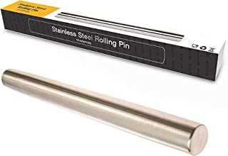 French Rolling Pin Professional, French Dough Roller for Baking, Smooth Metal & Tapered Design Best for Fondant, Pie Crust, Cookie & Pastry Dough