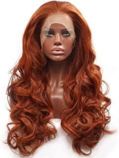 (60cm , Copper Red) - BESTUNG Fashion Glueless Copper Red Long Natural Wavy Free Part Lace Front Wigs Heat Resistant Synth...