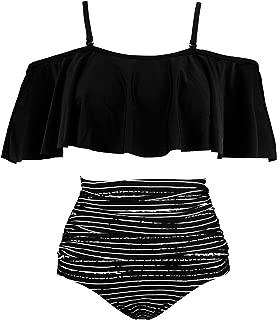Women's Ruffled Bikini Set Off Shoulder Flounce Falbala Top Tiered Ruched High Waist Swimsuit(FBA)