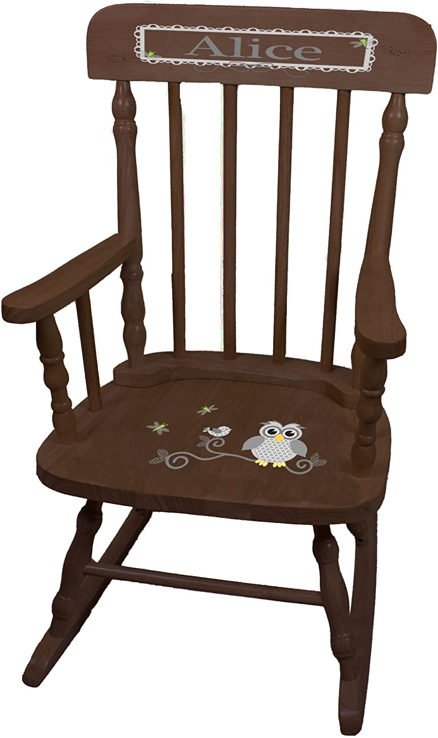Personalized Gray Memphis Mall Owl Espresso Rocking Discount mail order Chair Childrens