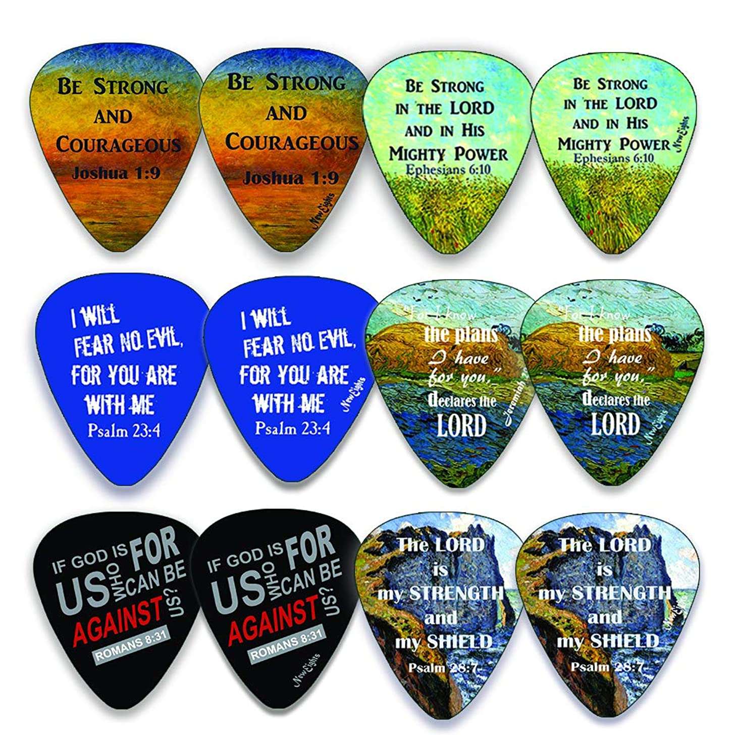 Christian Guitar Picks (12 pack)- Be Strong - Jeremiah 29:11 - Celluloid Medium - Best Stocking Stuffers for Dad Men Thanksgiving Christmas Birthday - Worship The Lord Excitedly