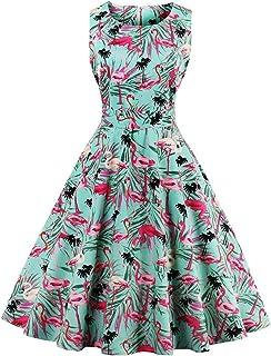 Wellwits Women's Tropical Leaf Flamingo Hepburn 1950s Vintage Swing Dress