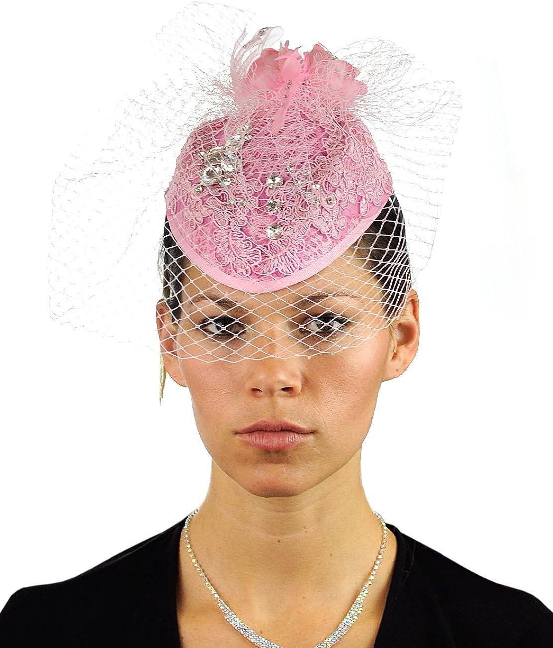 NYFASHION101 Cocktail Teardrop Sinamay Fascinator Hat w/Fish Net & Rhinestones, Pink
