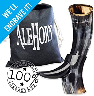 AleHorn Authentic Drinking Horn Curved Style with Stand – Polished Finish –..