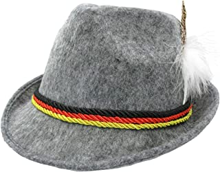 Grey German Oktoberfest Alpine Hat- Bavarian Swiss Traditional Tyrolean Felt Costume Fedora with Feather for Kids and Adults