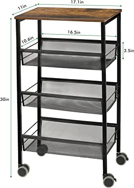 SEHERTIWY Kitchen Storage Rolling Cart, 3-Tier Kitchen Island Cart on Wheels with Wooden Shelves, Lockable Utility Cart with