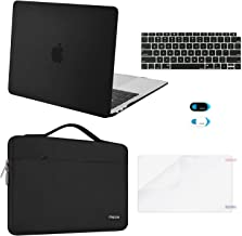 MOSISO MacBook Air 13 inch Case 2019 2018 Release A1932 Retina Display, Plastic Hard Shell & Sleeve Bag & Keyboard Cover & Webcam Cover & Screen Protector Compatible with MacBook Air 13, Black