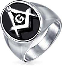 Bling Jewelry Secret Society Compass Black Oval Mens Signet Freemason Masonic Ring for Men 14K Gold Plated Silver Tone Stainless Steel