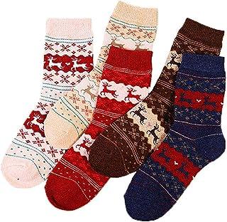 Kentop, Engrosamiento Calcetines Patrón de Renos de Navidad Adulto Calcetines Una Caja de 5 Pares