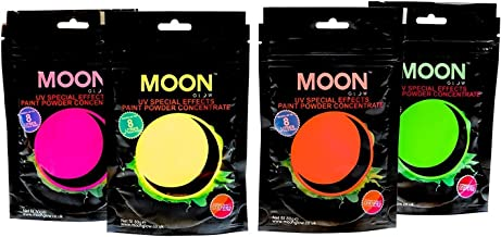 Moon Glow - 2.8oz Blacklight Paint Powder Set of 4 - Neon Special Effects Paint Party Powder Concentrate - Makes up to 8.4 US Gal!