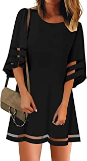 LookbookStore Women Casual Crewneck Mesh Panel 3/4 Bell Sleeve Loose Tunic Dress