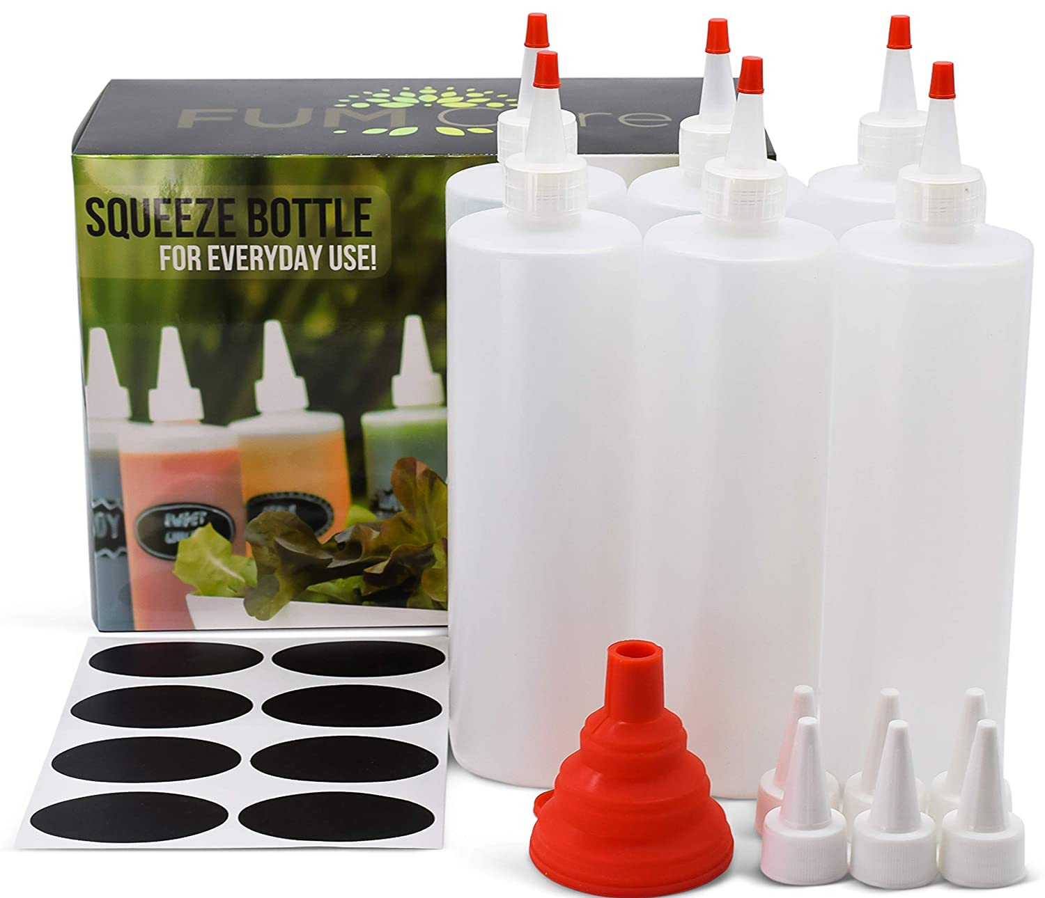 Squeeze Bottle 16 oz - Set of 6 - Red Caps, Silicone Funnel, Chalk Labels, 6 Extra White Caps, E-book Leakproof, BPA Free & Refillable Squirt Plastic Bottles For Condiments, Mustard, Ketchup